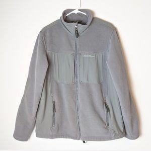 Eddie Bauer grey fleece zip up jacket, size large